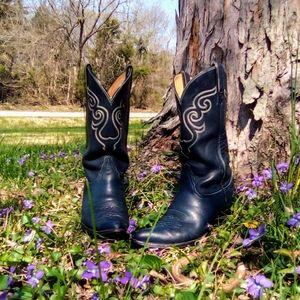 Vintage Tony Lama black label Navy Blue boots